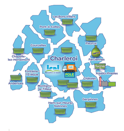 Carte des communes affiliées à l'ICDI