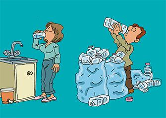 L'eau du robinet naturelle et sans déchets